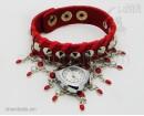 """Часы-браслет с шипами Leather Style """"Love"""" красный."""