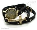 Часы-браслет Leather Style с крестом черный