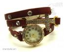 Часы-браслет Leather Style с крестом коричневый