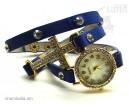 Часы-браслет Leather Style с крестом синий