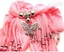 """Шарф с кулоном розовый """"Бабочка"""""""